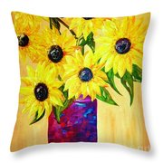Sunflowers In A Red Pot Throw Pillow