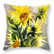 Sunflowers In Abstract Throw Pillow