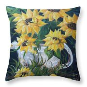 Sunflowers In An Antique Country Pot Throw Pillow by Eloise Schneider