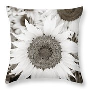Sunflowers In Back And White Throw Pillow