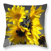 Yellow Selected Sunflowers Throw Pillow