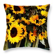 Sunflowers In Blue Bowls Throw Pillow
