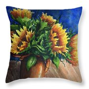 Sunflowers In Copper Throw Pillow