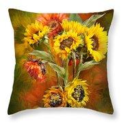 Sunflowers In Sunflower Vase - Square Throw Pillow by Carol Cavalaris