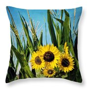 Sunflowers In The Corn Field Throw Pillow