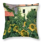 Sunflowers In The Garden At Petit Gennevilliers  Throw Pillow