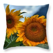 Sunflowers In The Wind Throw Pillow