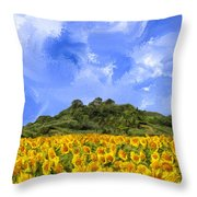 Sunflowers In Tuscany Throw Pillow