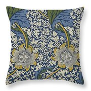 Sunflowers On Blue Pattern Throw Pillow