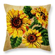 Sunflowers On Wooden Board Throw Pillow