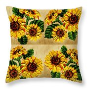Sunflowers Pattern Country Field On Wooden Board Throw Pillow