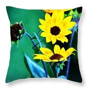 Sunflowers Portrait Throw Pillow