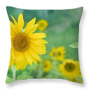 Sunflowers Vintage Dreams Throw Pillow