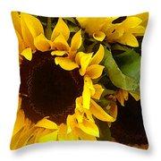 Sunflowers Wide Throw Pillow