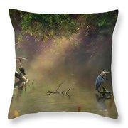Sunglow Heron Throw Pillow
