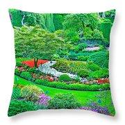 Sunken Garden In Butchart Gardens Near Victoria-british Columbia Throw Pillow