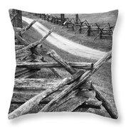 Sunken Road - Bw Throw Pillow