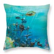 Sunken Ship Habitat Throw Pillow