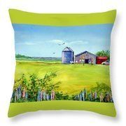 Sunkissed And Windblown Lupines And Laundry In Pei Throw Pillow