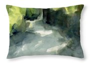 Sunlight And Foliage Conservatory Garden Central Park Watercolor Painting Throw Pillow