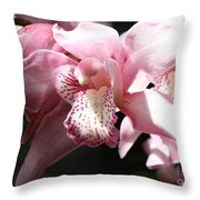 Sunlight On Pink Orchid Throw Pillow