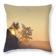 Sunlight Shining Behind A House In A Throw Pillow