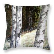 Sunlit Aspens Davis Creek Montana Throw Pillow