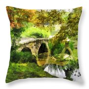 Sunlit Bridge In Park Throw Pillow
