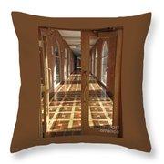 Sunlit Corridor Throw Pillow