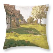 Sunlit Day  A Small Village Throw Pillow