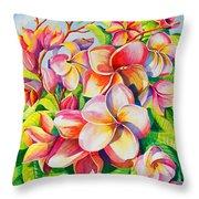 Sunlit Plumeria Throw Pillow