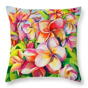 Sunlit Plumeria Throw Pillow