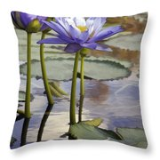 Sunlit Purple Lilies  Throw Pillow