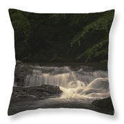 Early Morning Sunlit Waterfall Throw Pillow