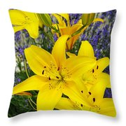 Sunny Asiatics With Lavender Throw Pillow