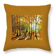 Sunny Birches - Palette Knife Oil Painting On Canvas By Leonid Afremov Throw Pillow