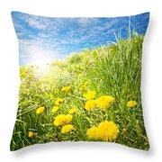 Sunny Dandelions Throw Pillow