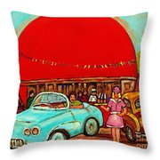 Sunny Day At The Big Orange Julep  Montreal Road Side Diner Carole Spandau Throw Pillow