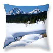 Sunny January Day Sawtooth Mountains Throw Pillow