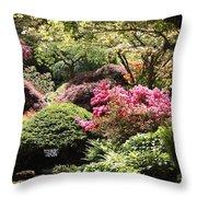 Sunny Japanese Garden Throw Pillow