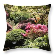 Sunny Japanese Garden Throw Pillow