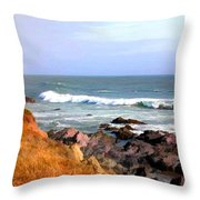 Sunny Ocean Shoreline Throw Pillow