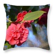 Sunny Red Camelias Throw Pillow