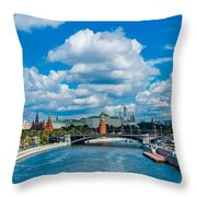 Sunny River And Moscow Kremlin Throw Pillow