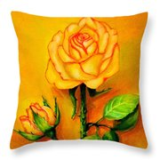 Sunny Rose Throw Pillow
