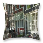 Sunny Street In Amsterdam Throw Pillow