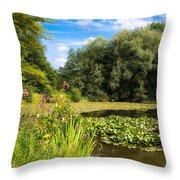 Sunny Summer Day At The Lake Beautiful Green And Blue Colors Throw Pillow