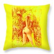Sunny Wood Nymph Throw Pillow