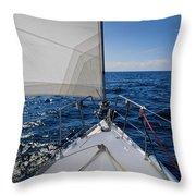 Sunny Yacht Bow Throw Pillow