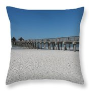 Sunny Day At Naples Pier Throw Pillow